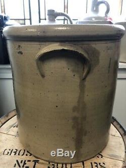 Vintage 4 Gallon Salt Glaze Handled Stoneware Crock Albany Slip Blue Rib Cage
