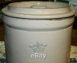 Vintage 6 Gallon Blue Crown Salt Glazed Stoneware Crock With Lid