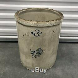Vintage 8 Gallon Western Stoneware Crock VERY LARGE 16.5 Tall
