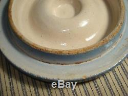 Vintage Blue and White Stoneware Butter Crock with Original Lid Draped Windows