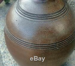 Vintage Early 1900's E H Merrill Stoneware Jug, Incised Design, Turned Handle