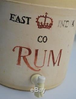Vintage East India Co RUM Crock with Stand Lid Tray & Drip Cup Corona Stoneware