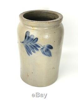 Vintage Grey Salt Glazed Stoneware Crock With Blue Floral Design- 10 3/4 X 6 1/4