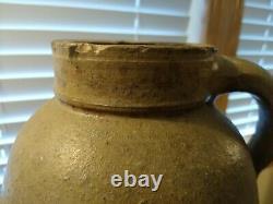 Vintage One Gallon Salt Glazed Stoneware Water Jug Cobalt Blue Mark 10 1/2 Tall