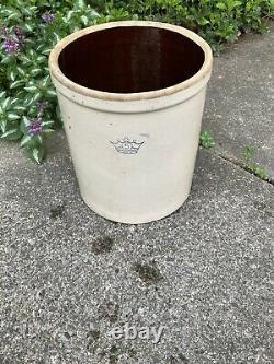 Vintage Ransbottom Stoneware Large Pickling Fermenting Crock #5 Crown