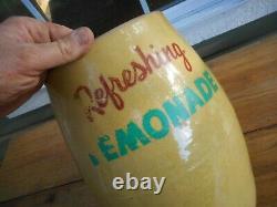 Vintage Refreshing Lemonade Yellow Crock Dispenser Jug U. S. A. Stoneware