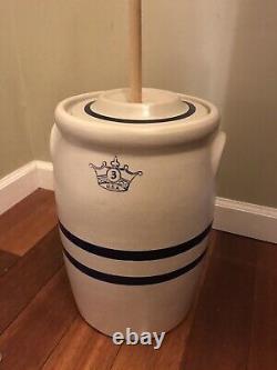 Vintage Roseville USA Butter Churn Crock Blue Line #3 Crown Lid Plunger EUC