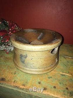 Vintage Salt Glazed Stoneware Spitoon Blue Slip Design crock