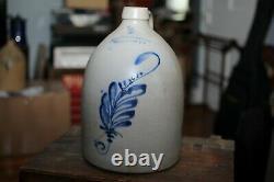Vintage Satterlee & Mory Stoneware Jug Crock Cobalt Decorated Ft. Edward NY