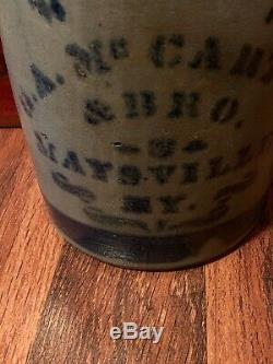 Vintage Stoneware Cobalt Blue GA McCarthy & Bros Jug Churn #2 Maysville KY Exc