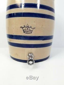 Vintage Stoneware Crock Water Jug Blue Stripe Crown 4 Gallon Lid with Dispenser