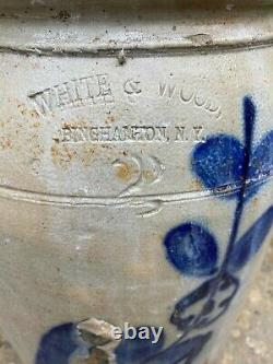 White and Wood stoneware antique 1880s crock