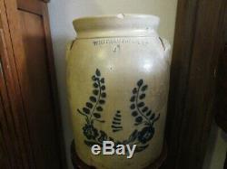 Whites Utica N. Y. Antique Ovoid Handled #4 Crock Floral Blue Design Stoneware