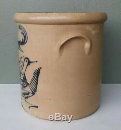 Whites Utica Ny Antique Cobalt Fantail Bird Decorated 6 Gallon Stoneware Crock