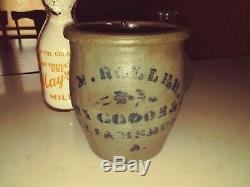 Williamsburg Pa J W ROLLER Grocer Dry Goods Stoneware Cobalt Store Crock N MINT