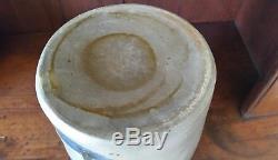 Wonderful Antique Stoneware Crock. Three VIVID Brushed Cobalt Stripes. Aafa