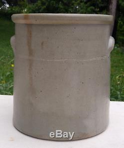 XLNT Antique 4 Gallon New Ulm Pottery Salt Glaze Stoneware Crock Cobalt Flower